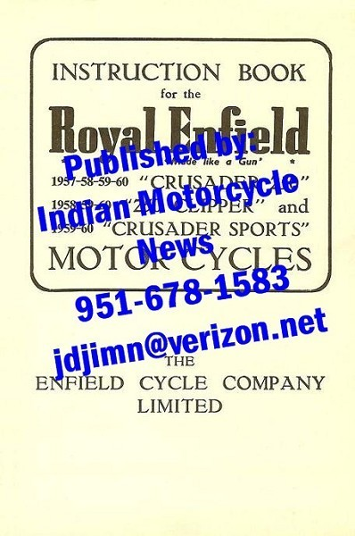 New copy,1957-60 Enfield 250 Single, Owners Manual - Listing